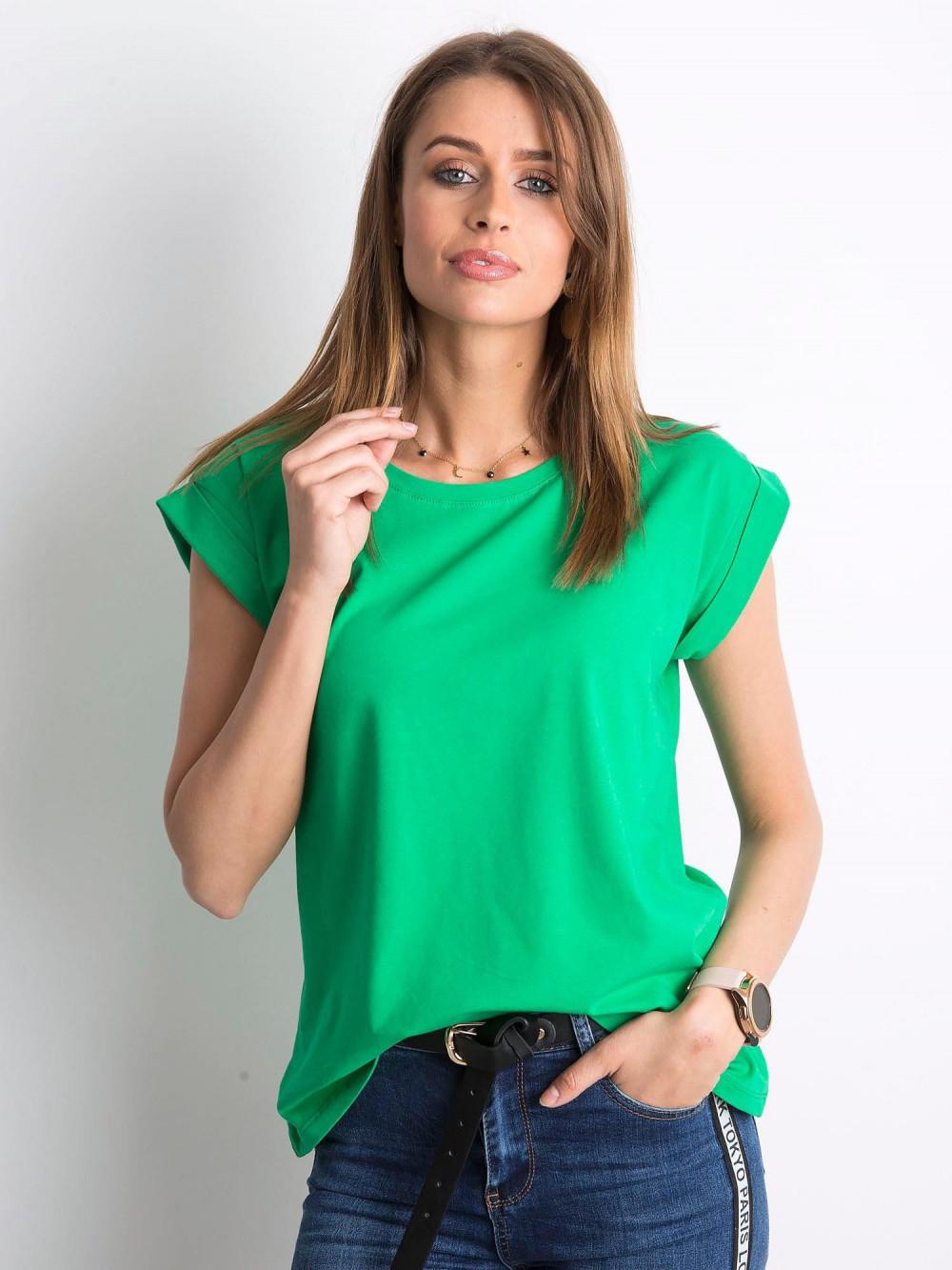 Zielony t-shirt z zawijanymi rękawkami Nami 1