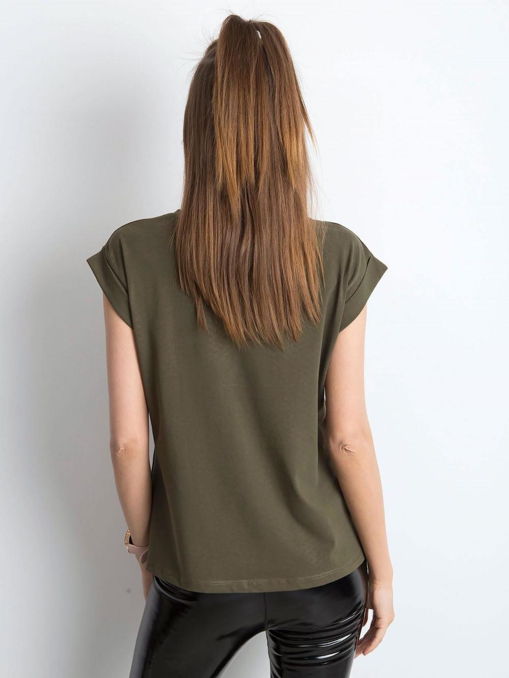 Khaki t-shirt z zawijanymi rękawkami Nami 3