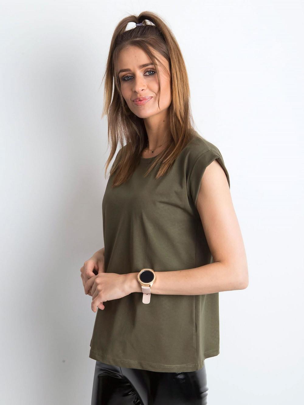 Khaki t-shirt z zawijanymi rękawkami Nami 2