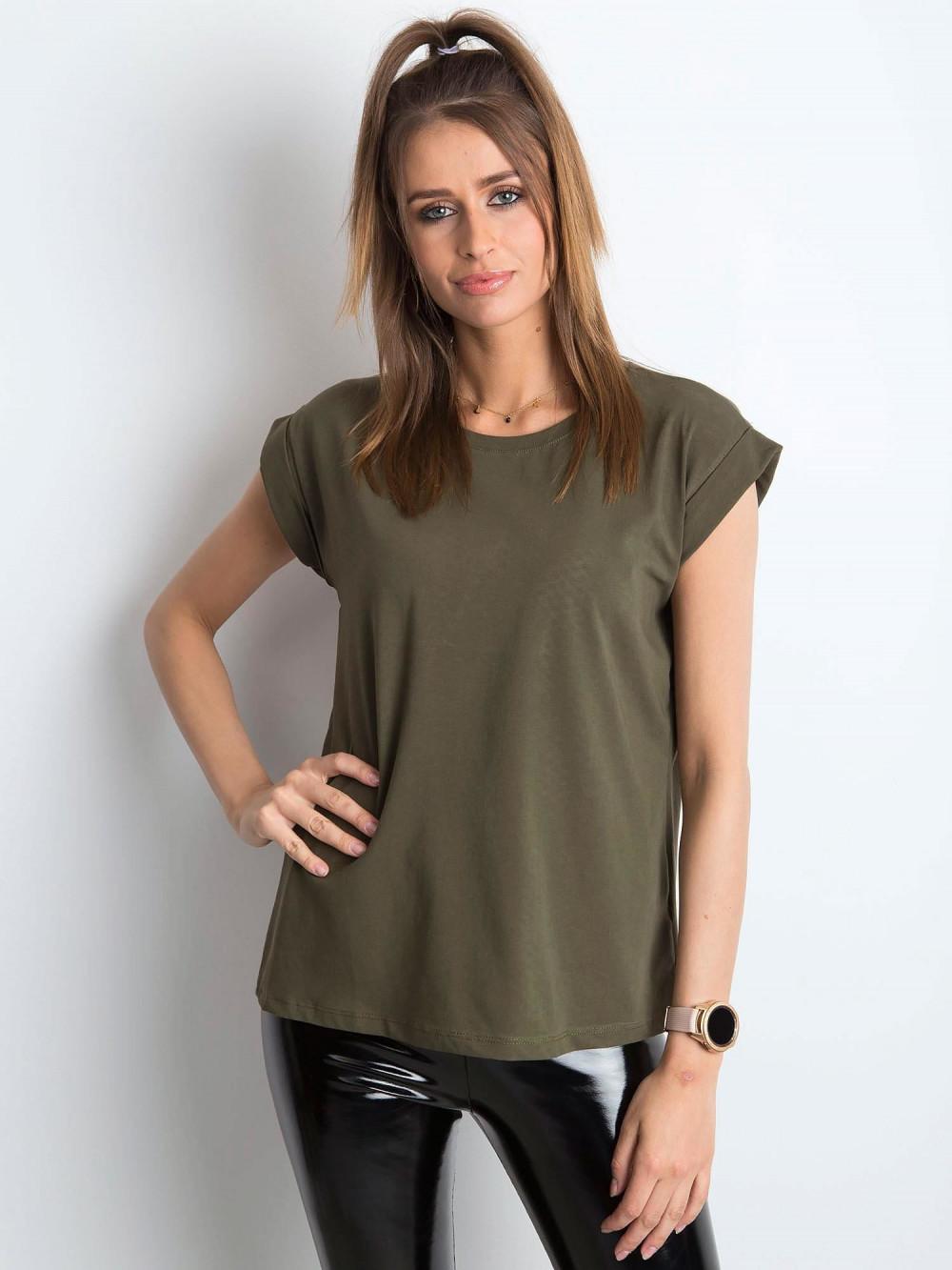 Khaki t-shirt z zawijanymi rękawkami Nami 1