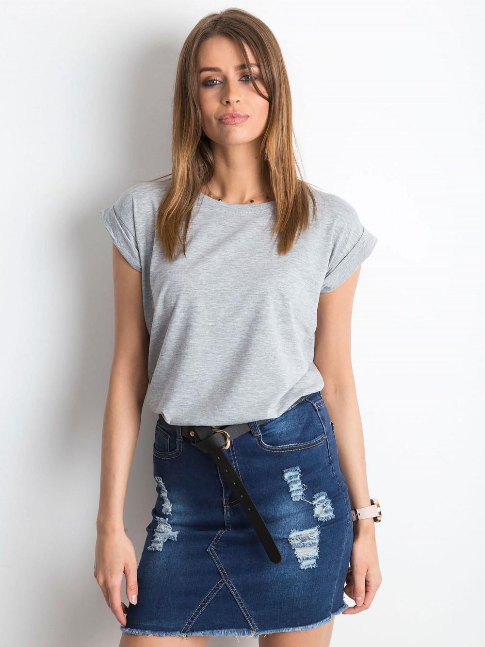 Szary t-shirt z zawijanymi rękawkami Nami 1