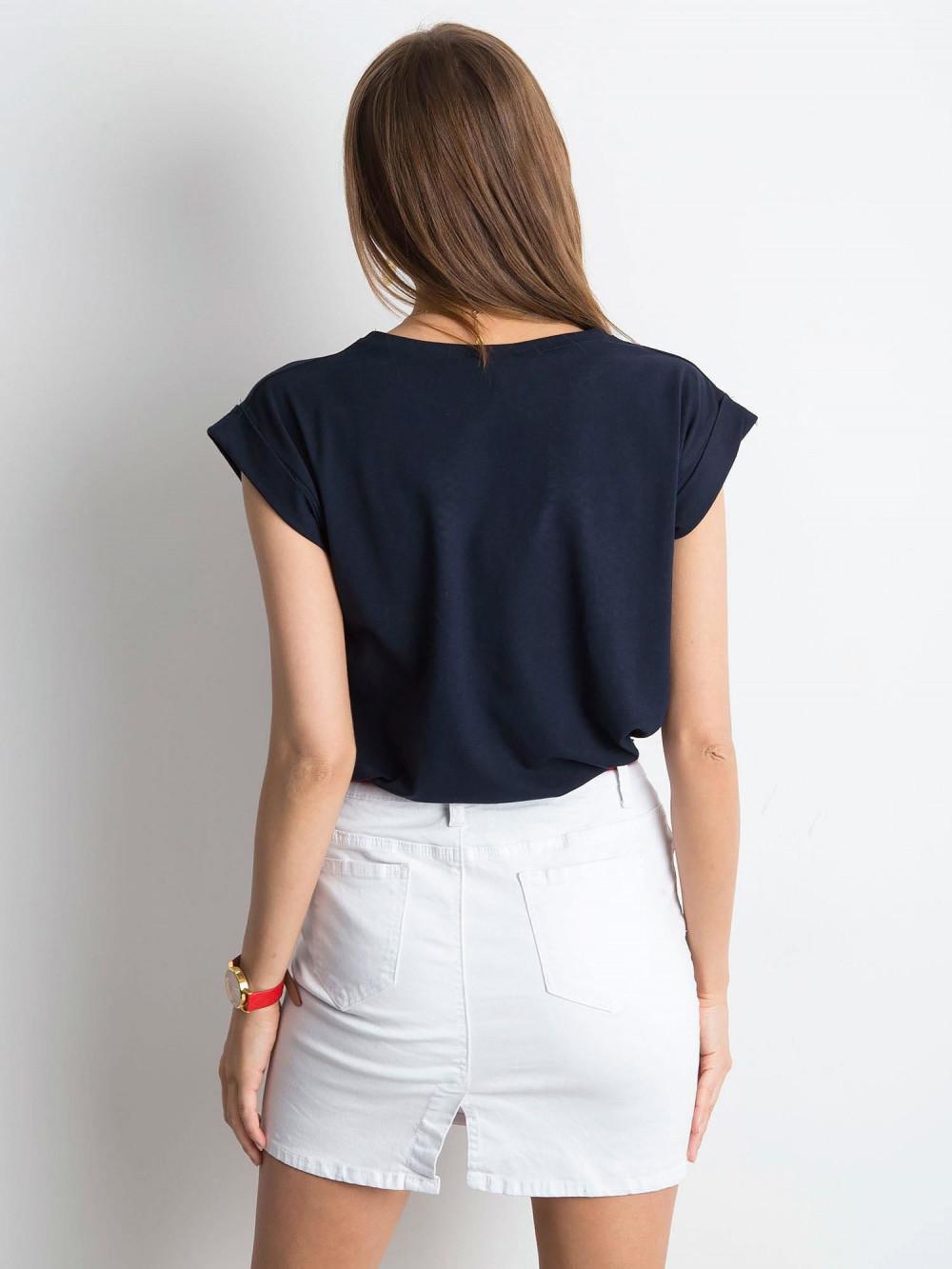 Granatowy t-shirt z zawijanymi rękawkami Nami 3