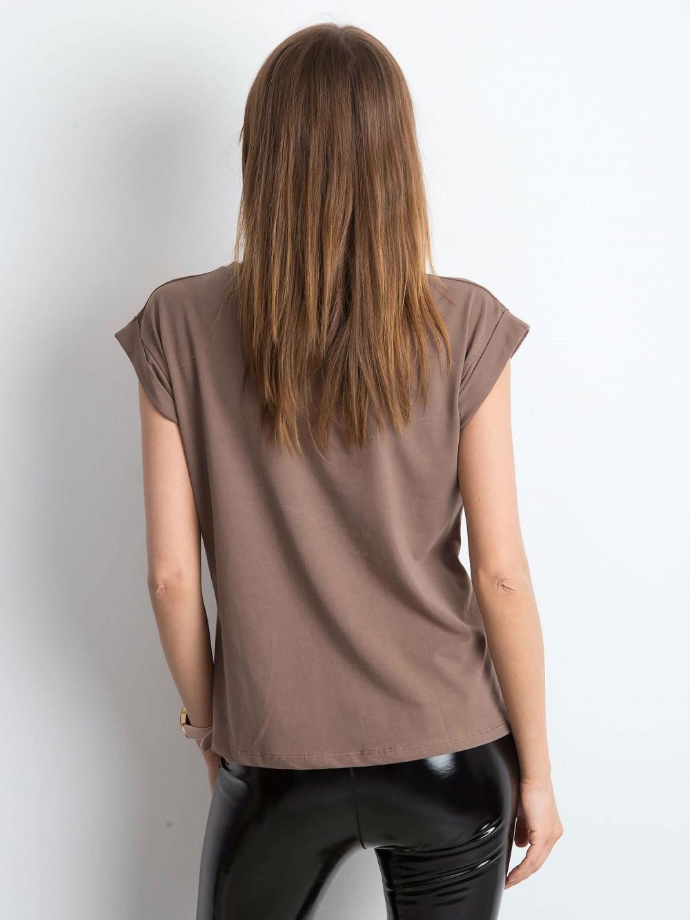 Kawowy t-shirt z zawijanymi rękawkami Nami 4