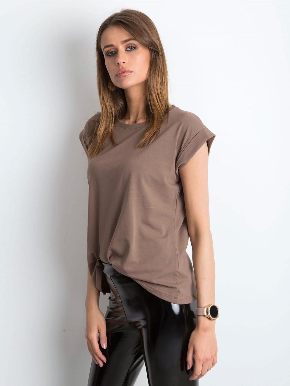 Kawowy t-shirt z zawijanymi rękawkami Nami 2