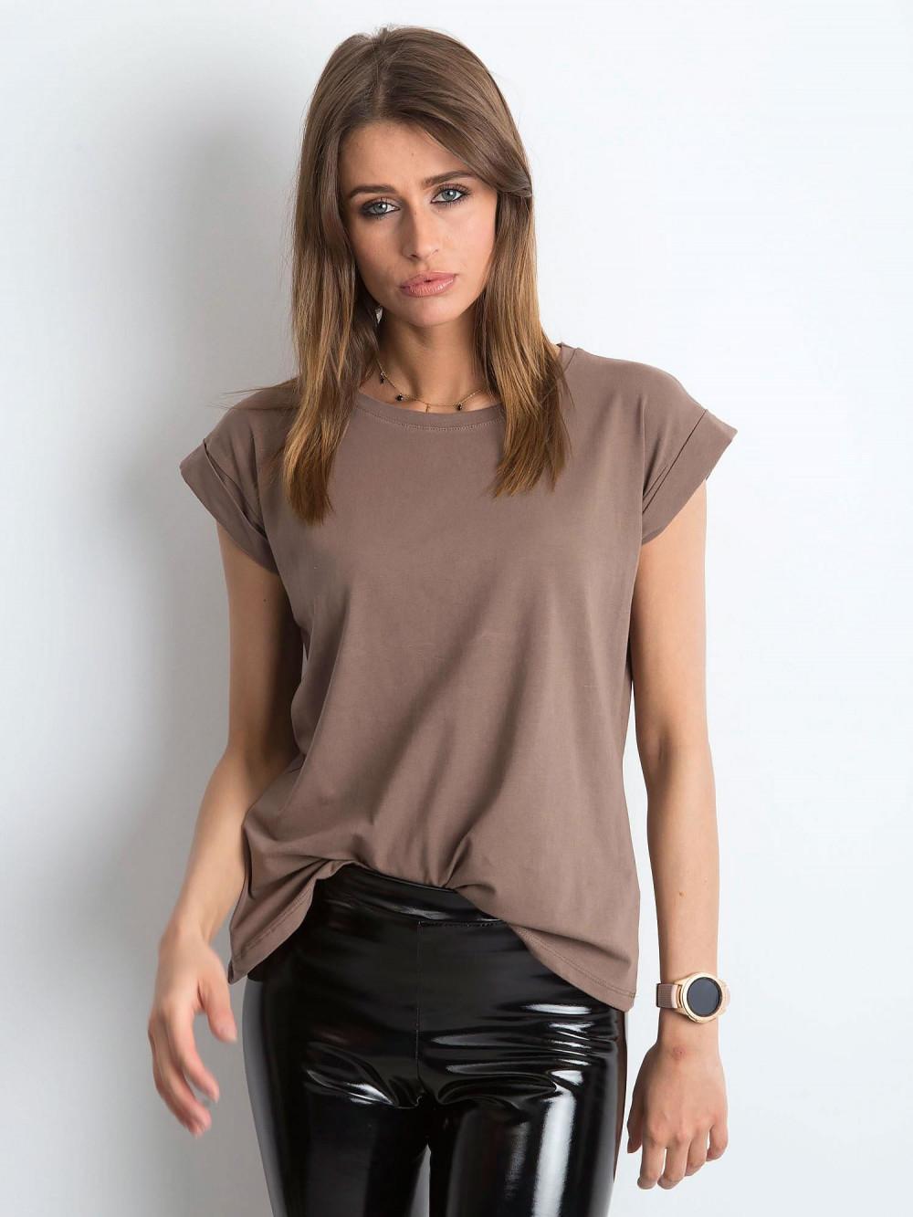 Kawowy t-shirt z zawijanymi rękawkami Nami 1