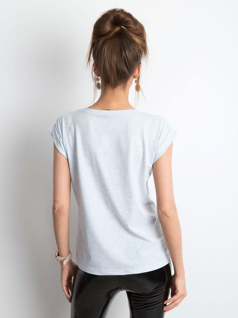 Jasnoniebieski melanżowy t-shirt z zawijanymi rękawkami Nami 3