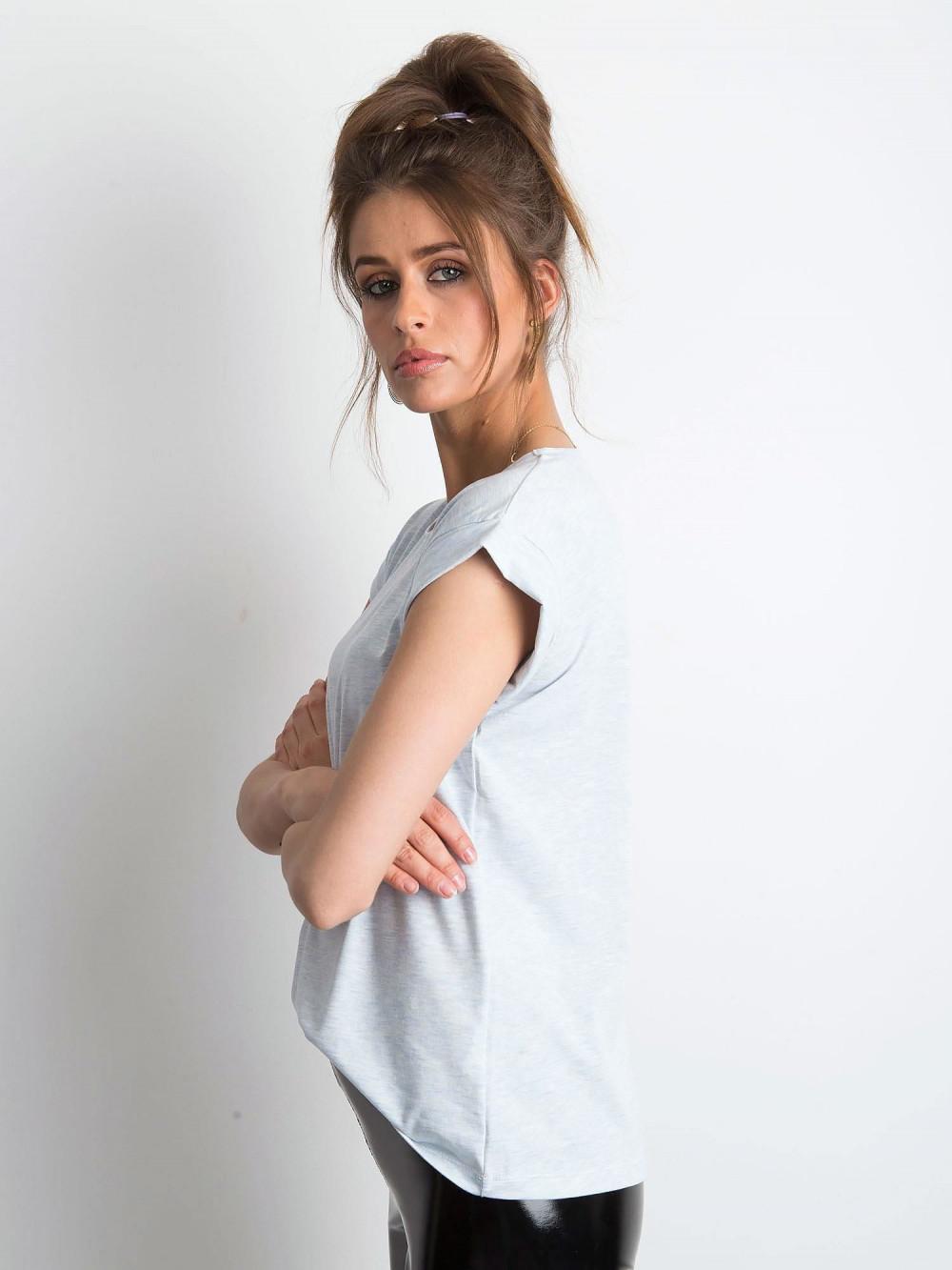 Jasnoniebieski melanżowy t-shirt z zawijanymi rękawkami Nami 2