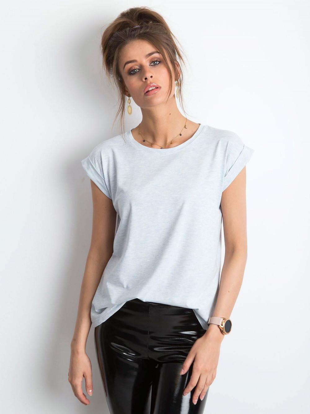 Jasnoniebieski melanżowy t-shirt z zawijanymi rękawkami Nami 1