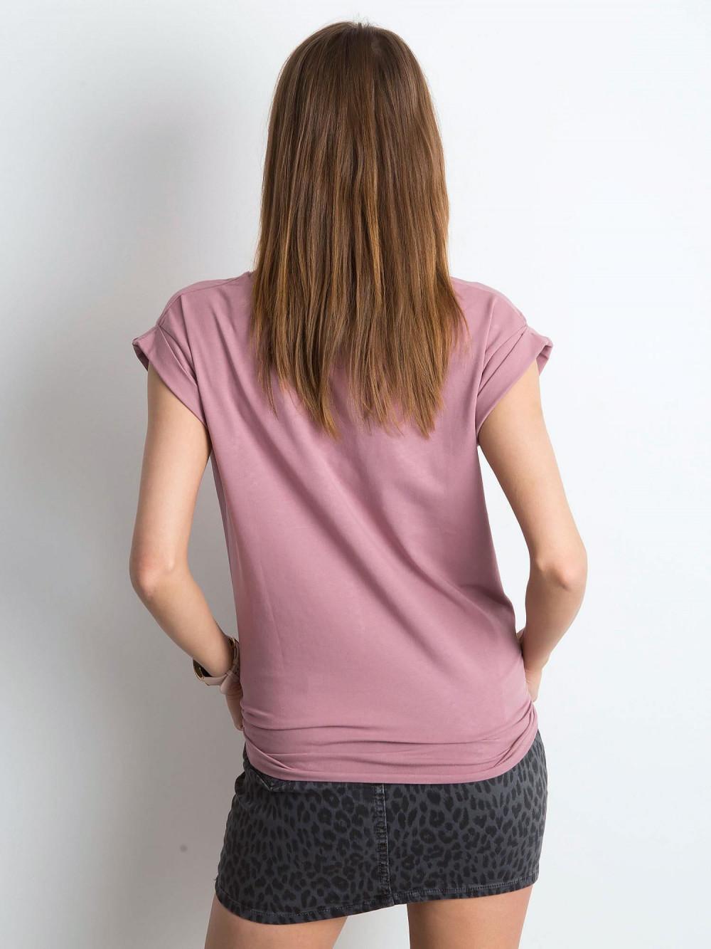 Brudnoróżowy t-shirt z zawijanymi rękawkami Nami 3