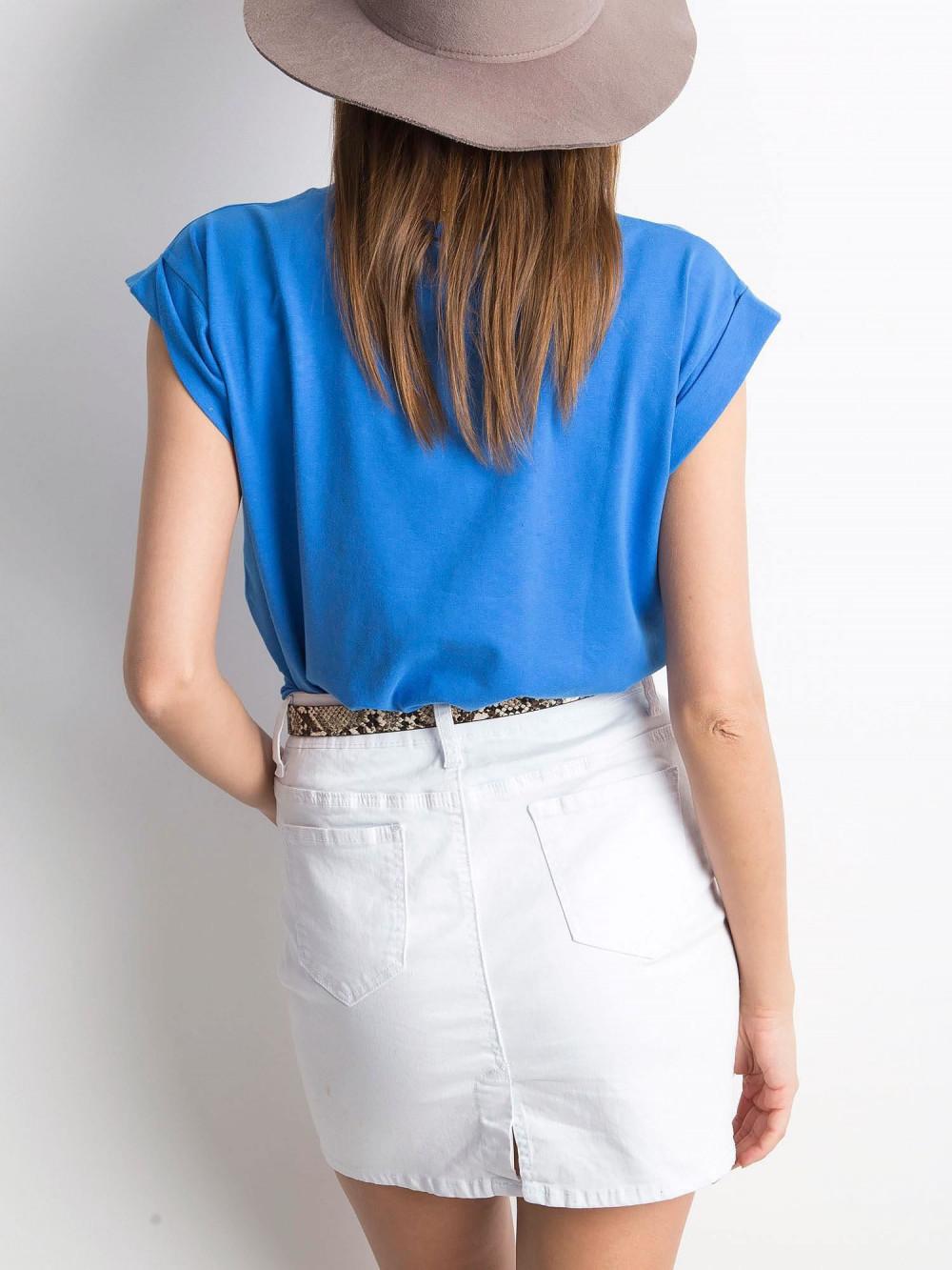 Ciemnoniebieski t-shirt z zawijanymi rękawkami Nami 3