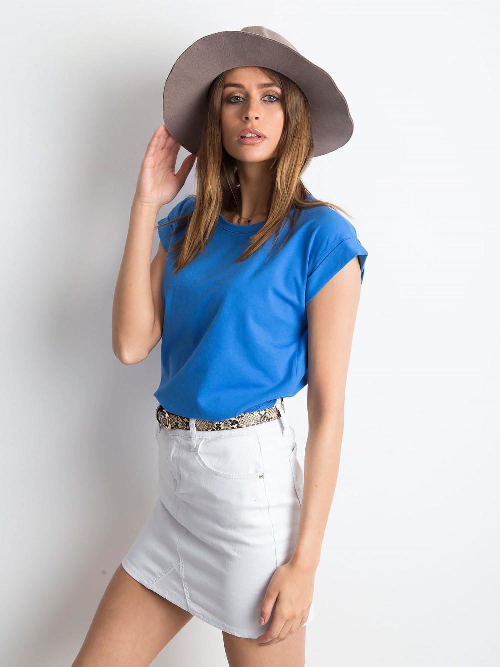 Ciemnoniebieski t-shirt z zawijanymi rękawkami Nami 2