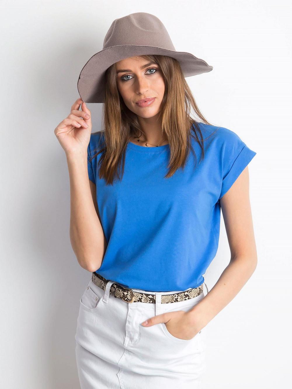 Ciemnoniebieski t-shirt z zawijanymi rękawkami Nami 1
