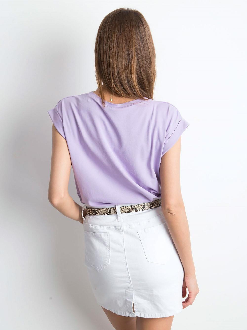 Fioletowy t-shirt z zawijanymi rękawkami Nami 4