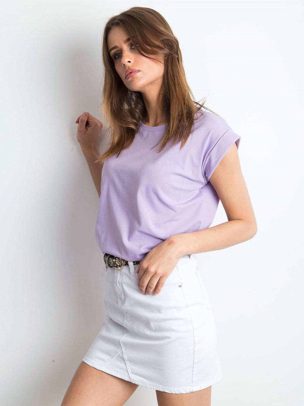 Fioletowy t-shirt z zawijanymi rękawkami Nami 2