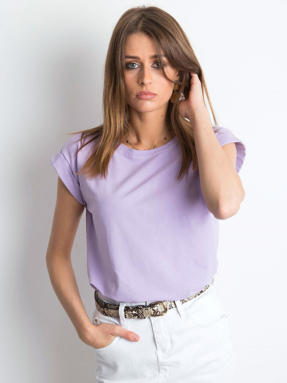 Fioletowy t-shirt z zawijanymi rękawkami Nami 1
