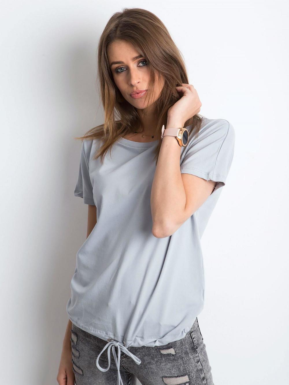 Jasnografitowy t-shirt z wiązaniem Faso 1
