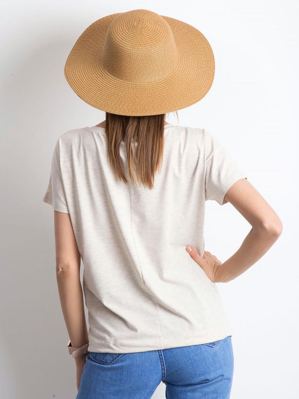 Beżowy melanżowy t-shirt z wiązaniem Faso 3