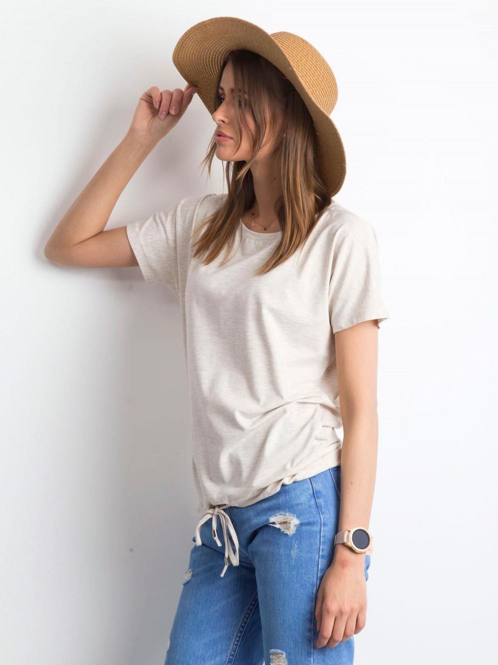 Beżowy melanżowy t-shirt z wiązaniem Faso 2