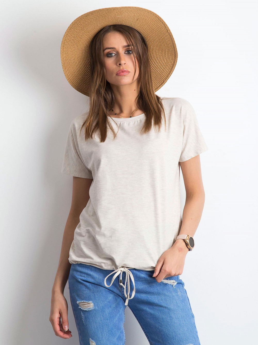 Beżowy melanżowy t-shirt z wiązaniem Faso 1