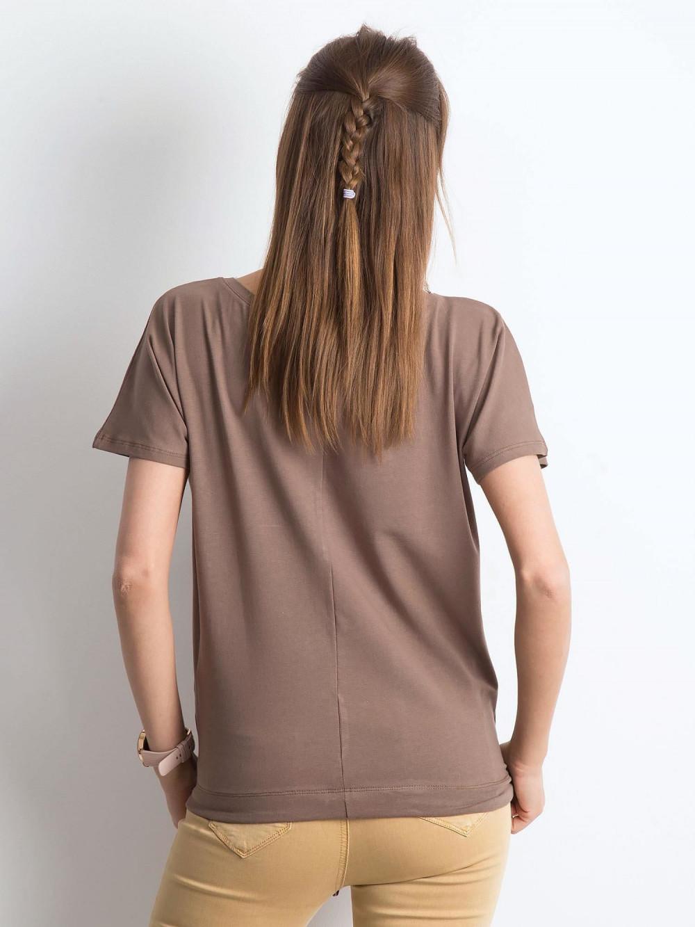 Kawowy t-shirt z wiązaniem Faso 3