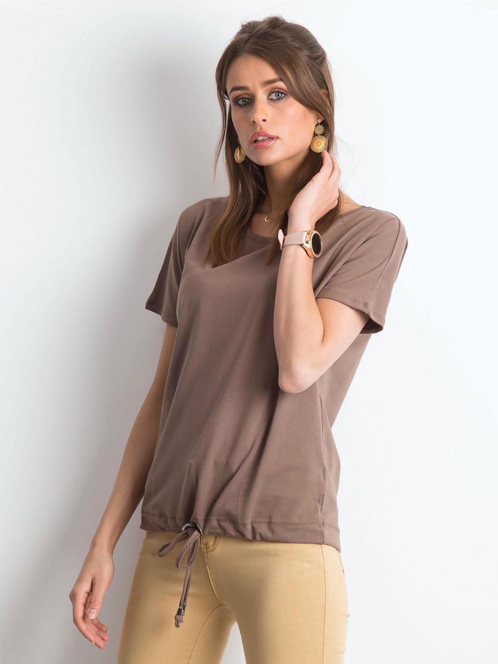 Kawowy t-shirt z wiązaniem Faso 2
