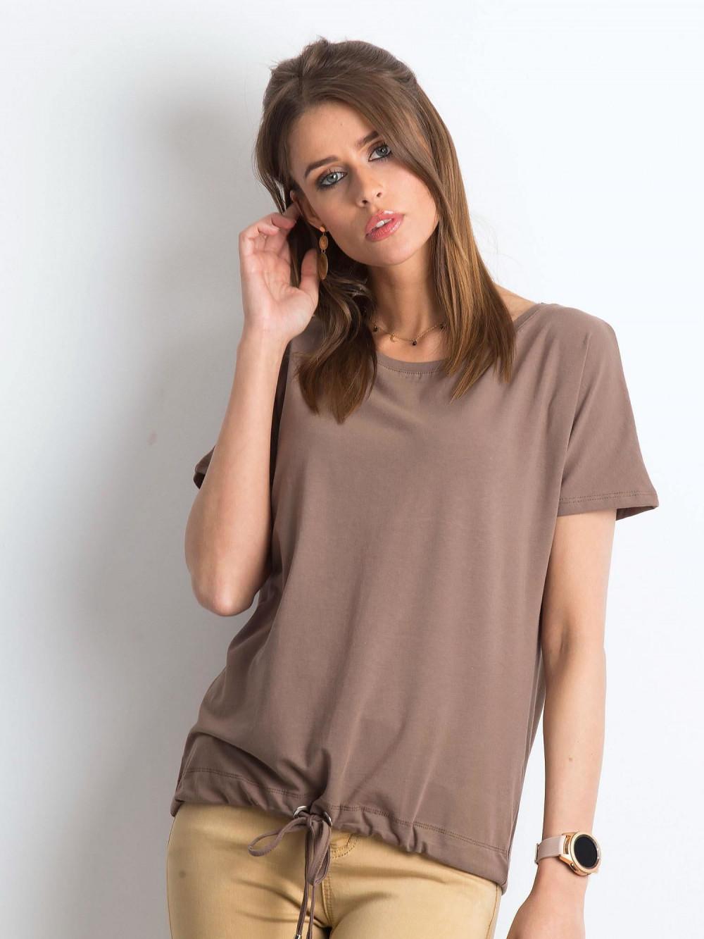 Kawowy t-shirt z wiązaniem Faso 1