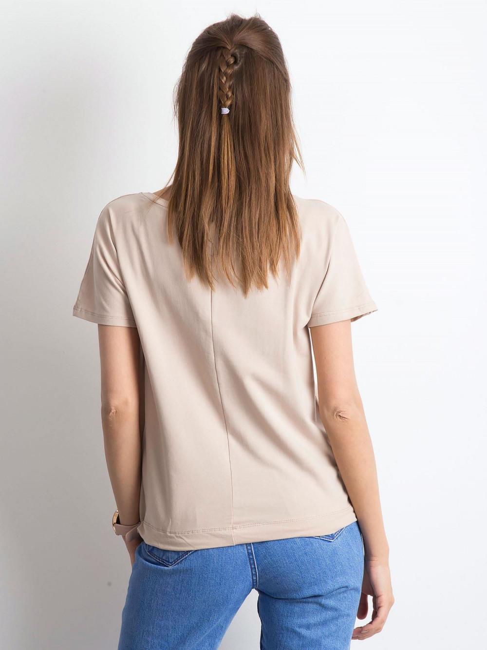 Jasnokawowy t-shirt z wiązaniem Faso 3