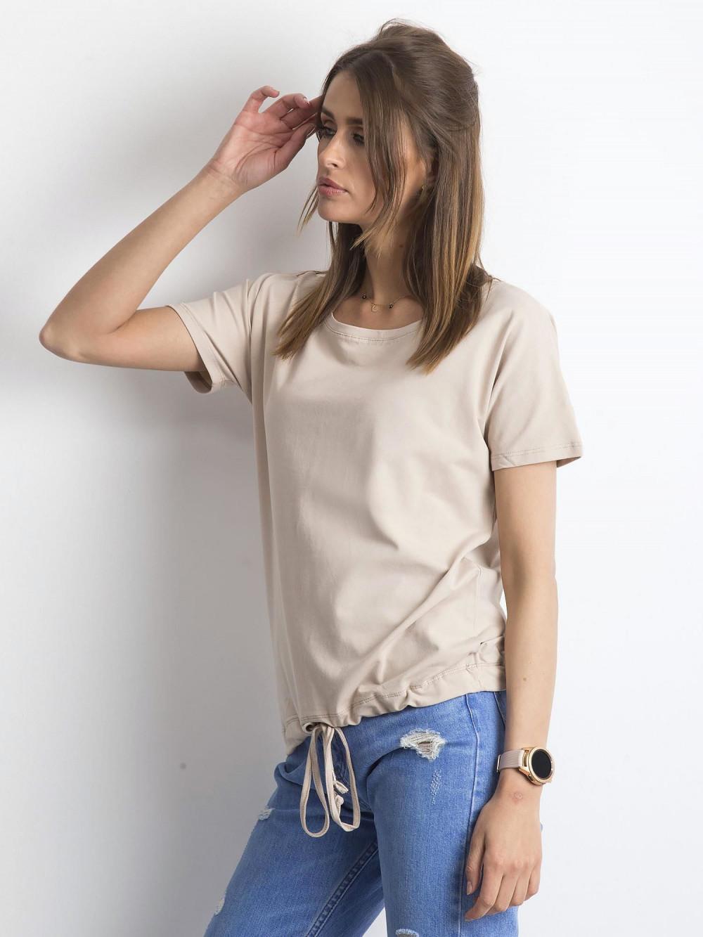 Jasnokawowy t-shirt z wiązaniem Faso 2