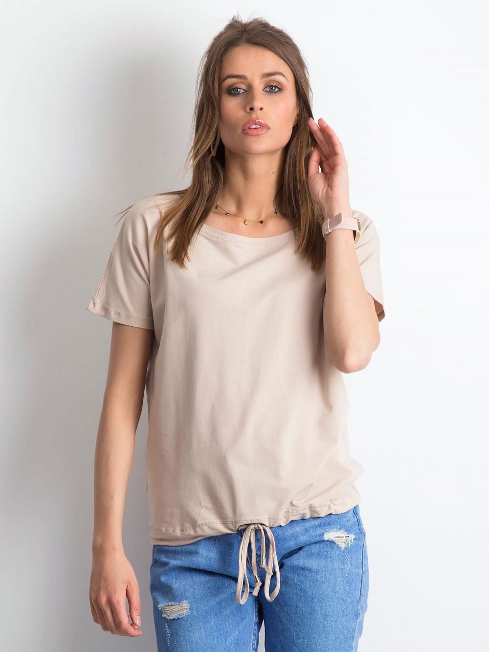 Jasnokawowy t-shirt z wiązaniem Faso 1