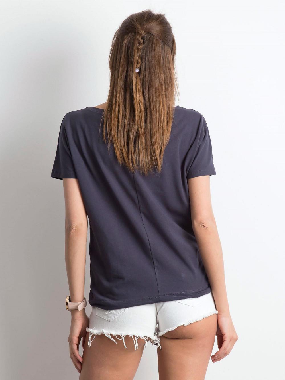 Grafitowy t-shirt z wiązaniem Faso 3