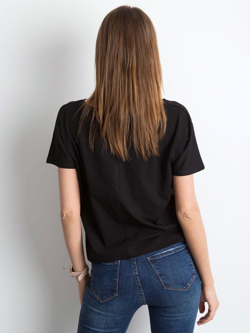 Czarny t-shirt z wiązaniem Faso 4