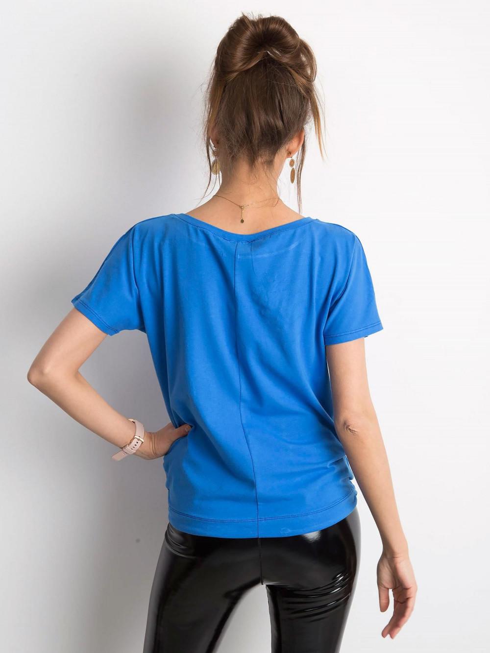 Ciemnoniebieski t-shirt z wiązaniem Faso 4