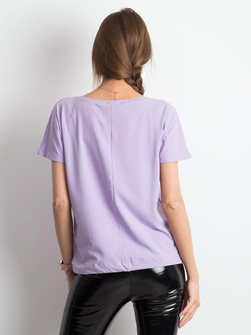 Jasnofioletowy t-shirt z wiązaniem Faso 3