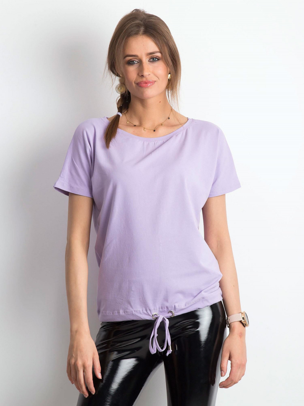 Jasnofioletowy t-shirt z wiązaniem Faso 1