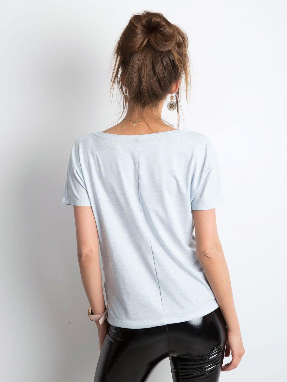 Niebieski melanżowy t-shirt z wiązaniem Faso 3