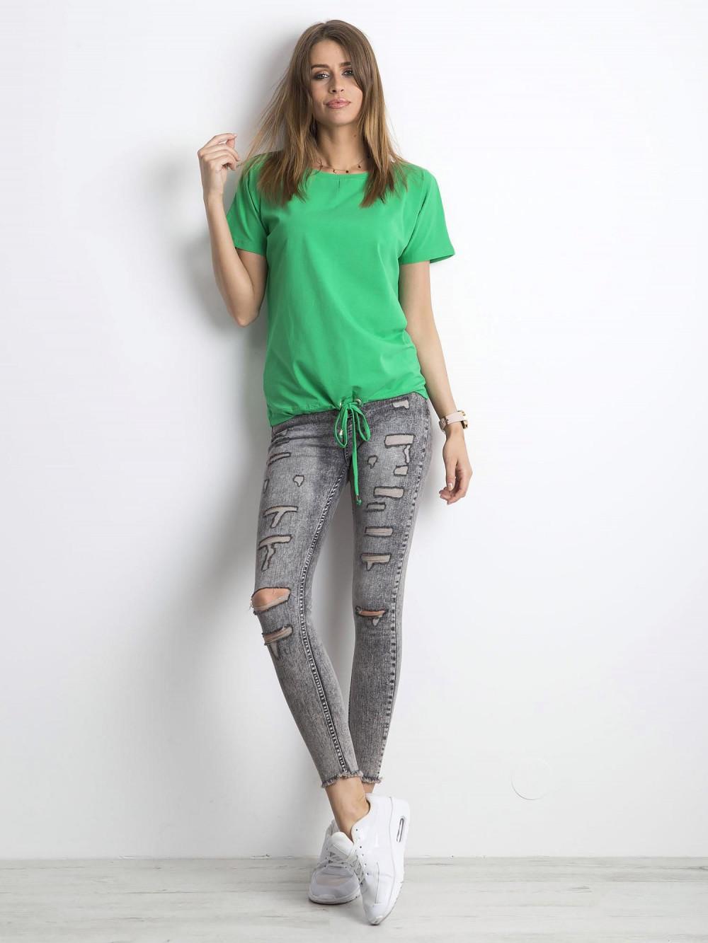 Zielony t-shirt z wiązaniem Faso 4