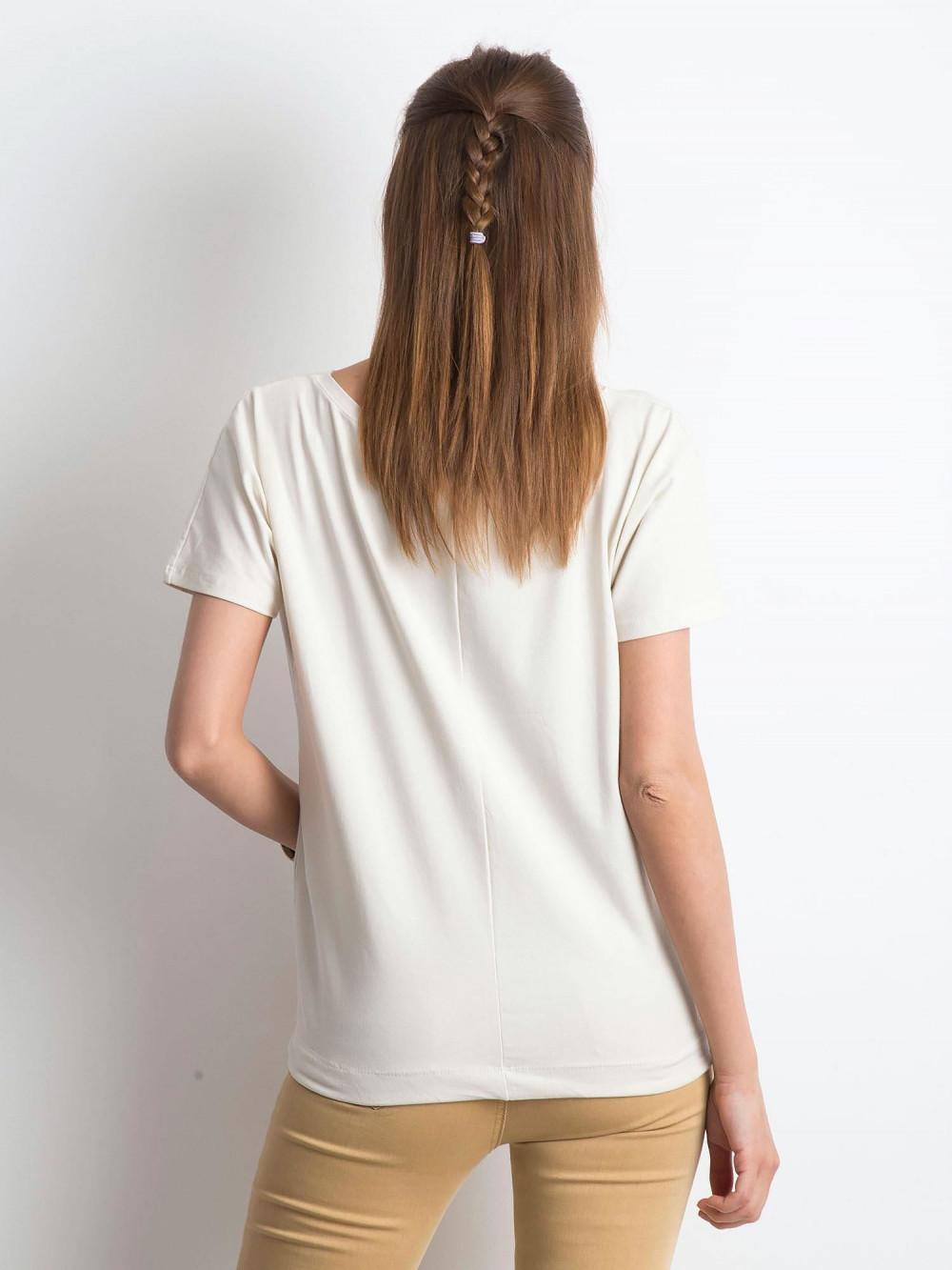 Beżowy t-shirt z wiązaniem Faso 3