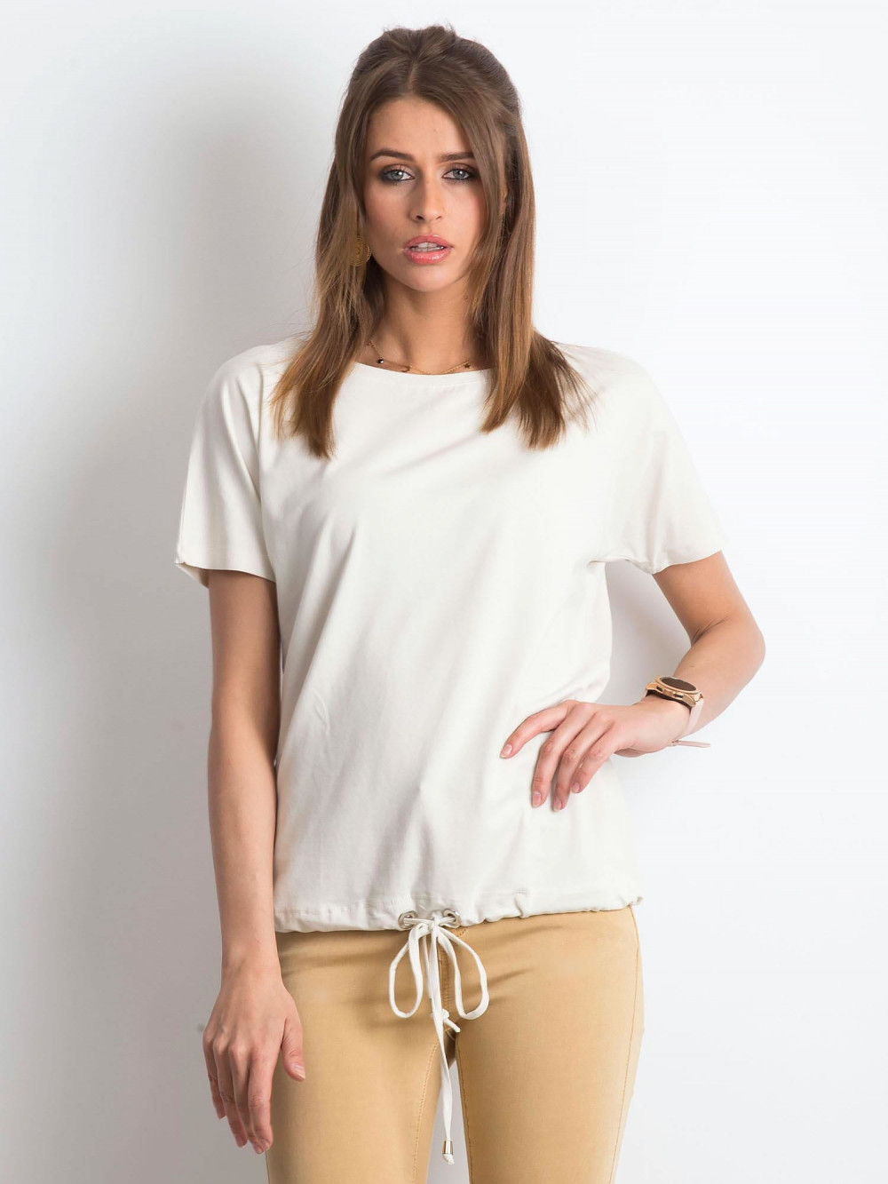Beżowy t-shirt z wiązaniem Faso 1