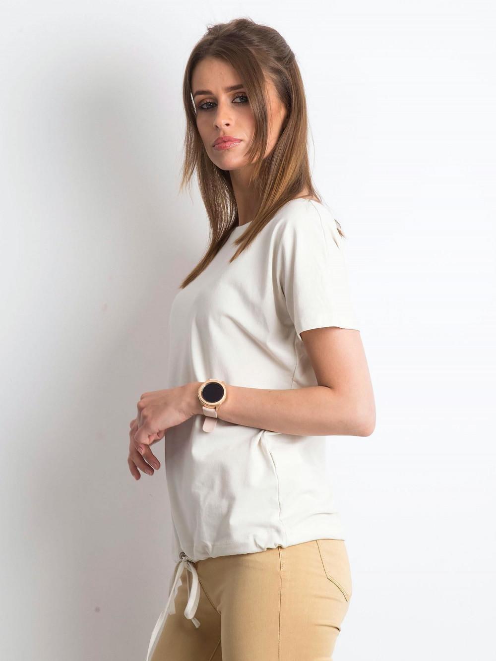 Beżowy t-shirt z wiązaniem Faso 2