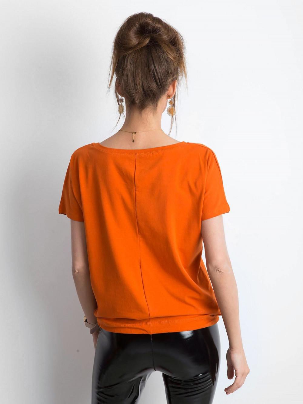 Ciemnopomarańczowy t-shirt z wiązaniem Faso 3