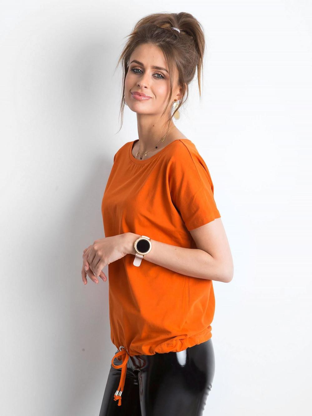 Ciemnopomarańczowy t-shirt z wiązaniem Faso 2