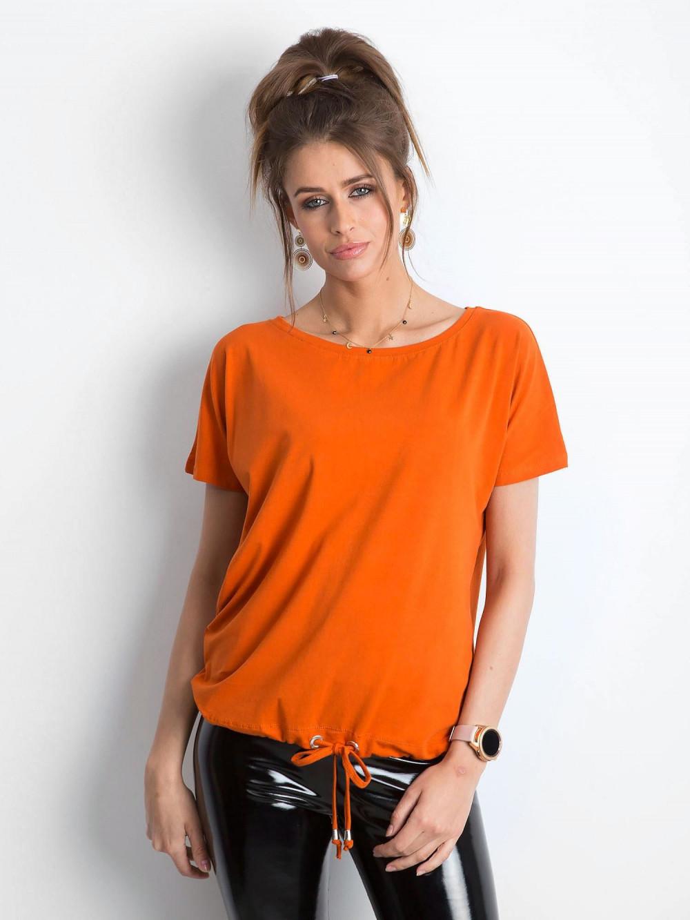 Ciemnopomarańczowy t-shirt z wiązaniem Faso 1