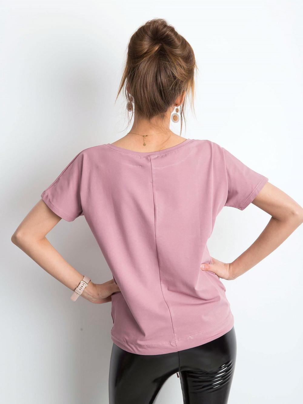 Brudnoróżowy t-shirt z wiązaniem Faso 3