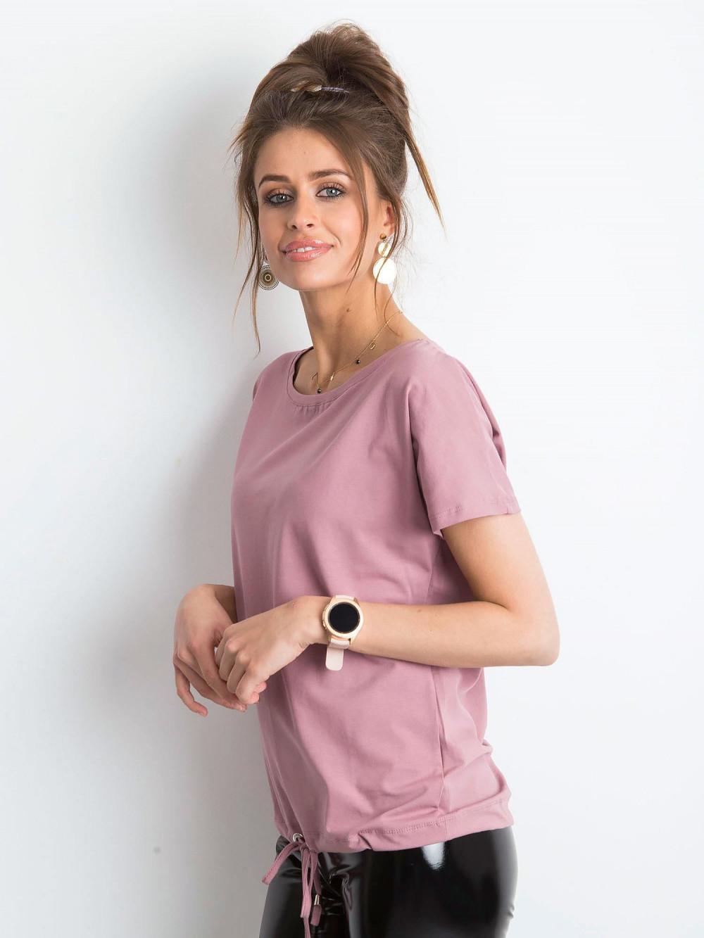 Brudnoróżowy t-shirt z wiązaniem Faso 2