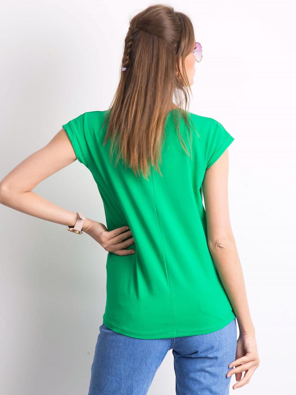 Zielony t-shirt z dekoltem w serek Secret 3