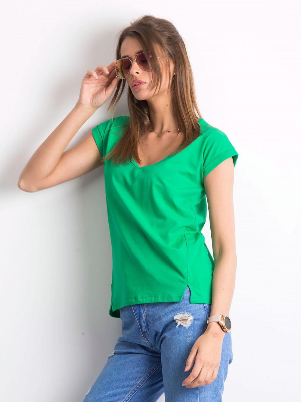 Zielony t-shirt z dekoltem w serek Secret 2