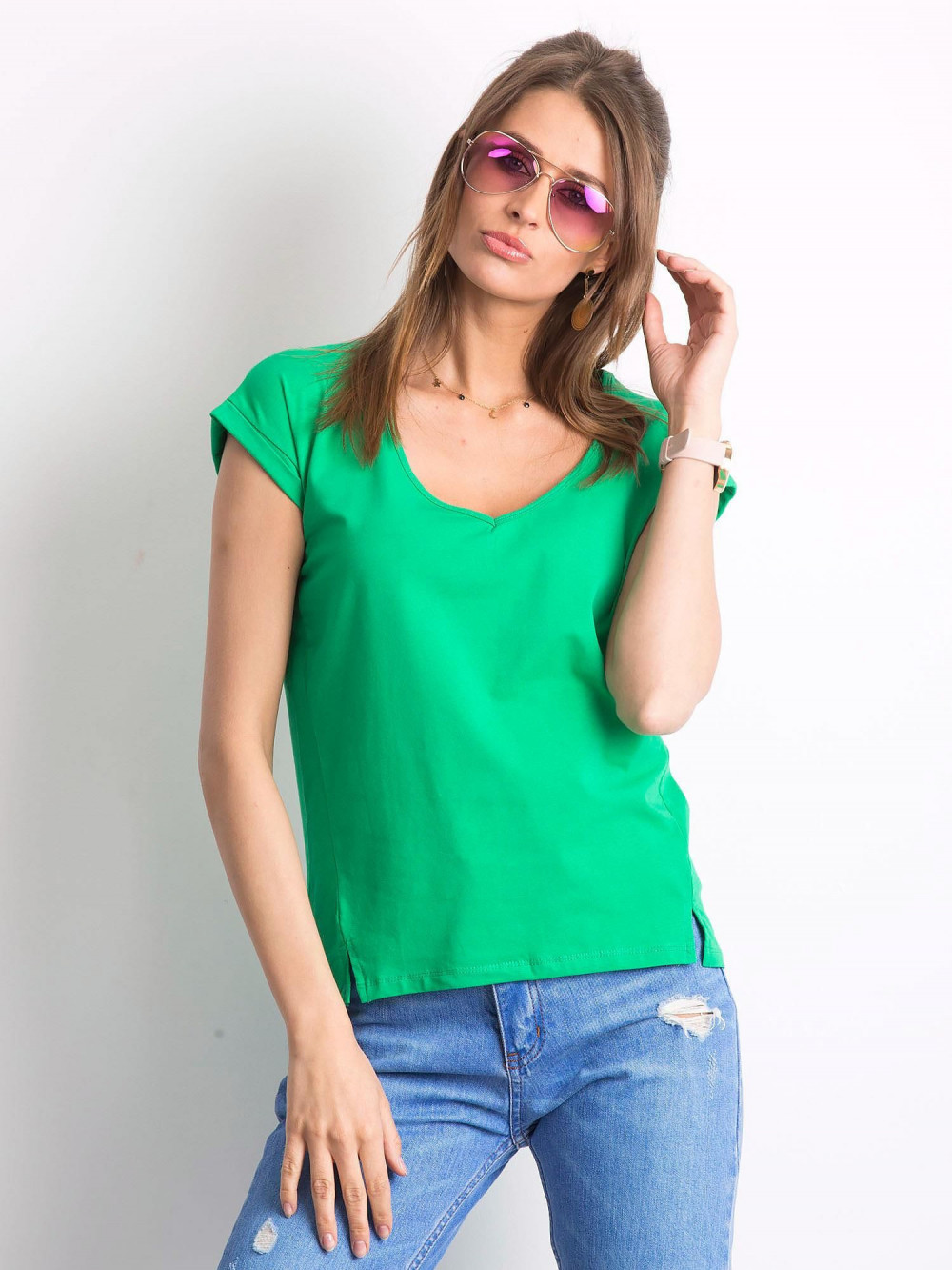 Zielony t-shirt z dekoltem w serek Secret 1