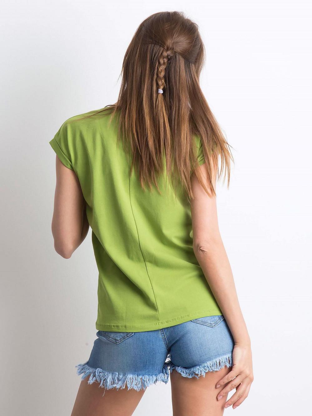 Jasnozielony t-shirt z dekoltem w serek Secret 3