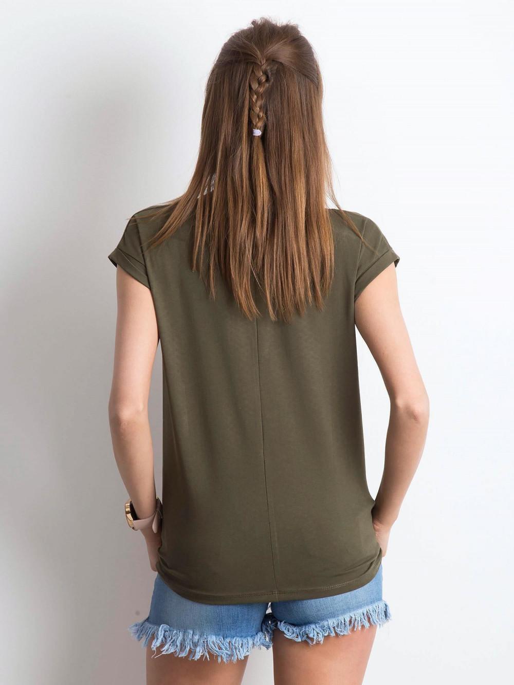 Khaki t-shirt z dekoltem w serek Secret 4