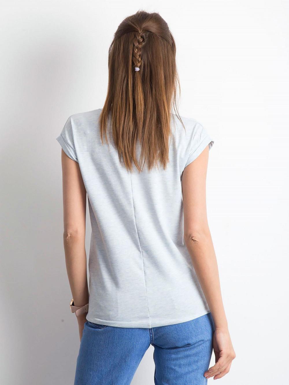 Jasnoniebieski melanżowy t-shirt z dekoltem w serek Secret 3